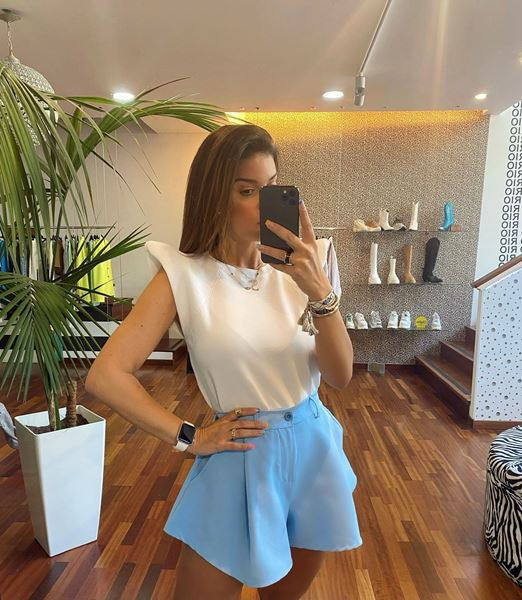 Imagem de Calções Azuis Flare Joleen Fashion